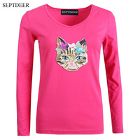 Embroidery Cat Basic Plus Size Women V Neck Long Sleeve Black Tops Casual Stretch Female T