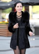 Fur coat women overcoat winter outerwear rabbit fur artificial fox fur with hood female fashion long design black outcoat
