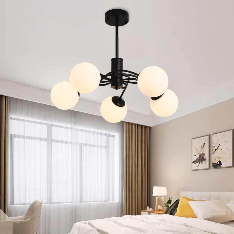 Black Iron Chandelier Lights E27 LED Nordic Chandeliers Lighting Fixture With Glass Shade For Living Room And Bedroom Lighting european chandeliers bedroom living room dining hanging lighting fixtures wrought iron black art retro chandelier e27