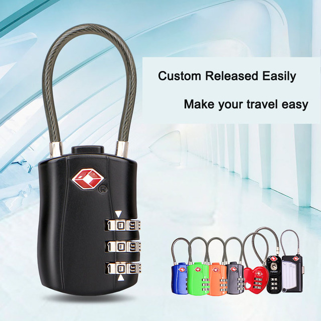 TSA Customs Metal Suitcase Lock – Black Anti-theft Lock with Passcode