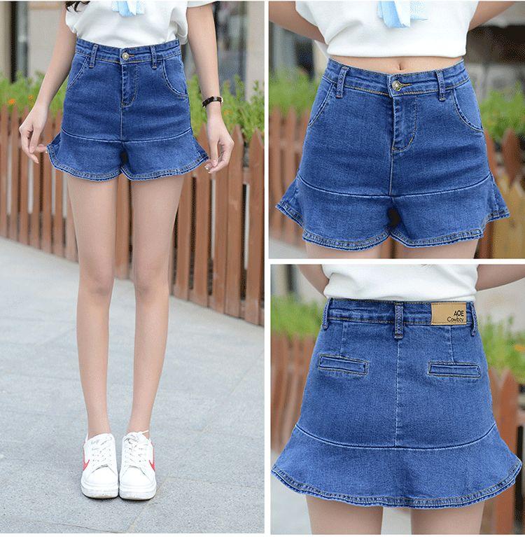 Grande taille blanc jean shorts femmes été