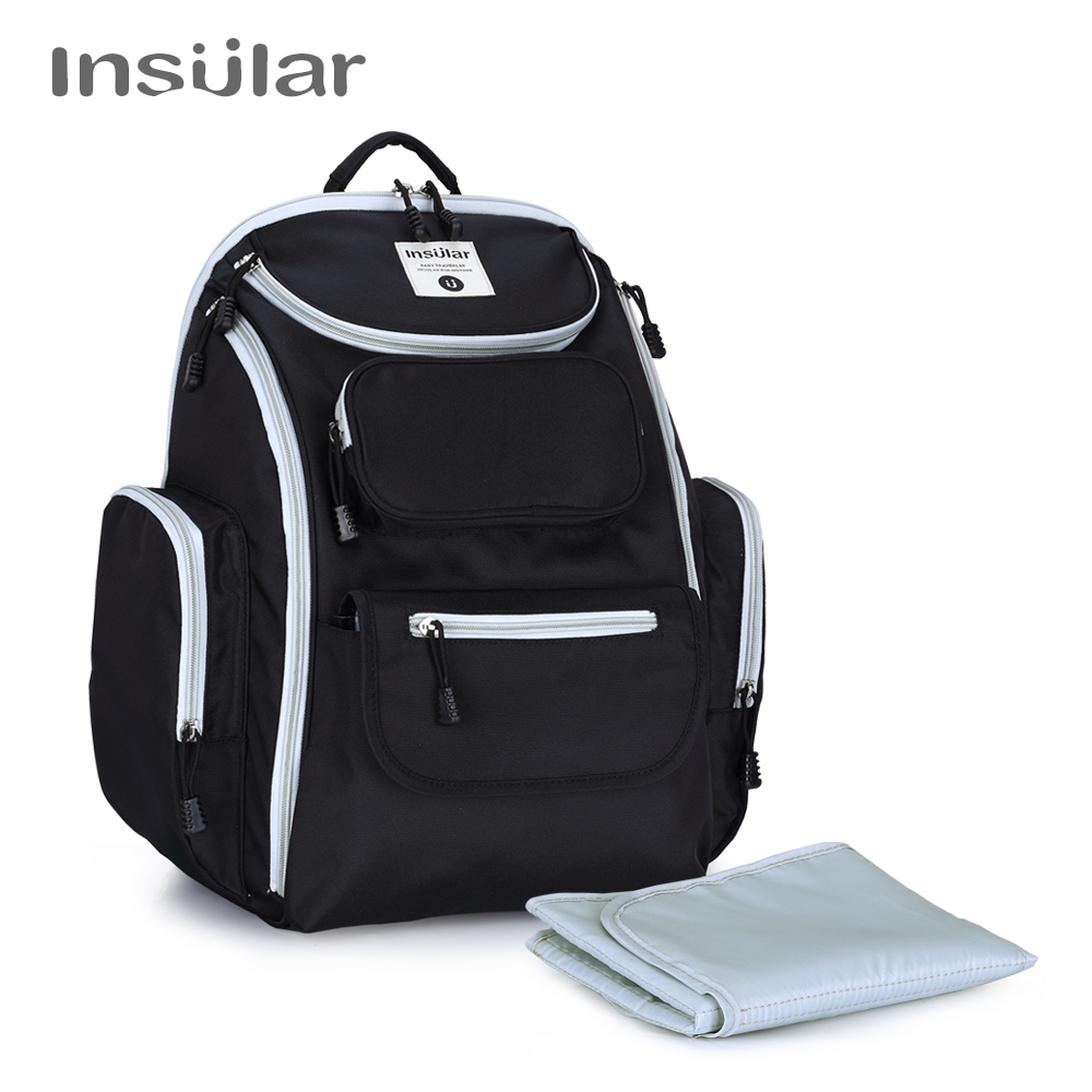INSULAR Waterproof Nylon Baby Diaper Backpack Mommy Maternity Nappy Changing Bag Nursing Mother Bags Mum Stroller Bag For Baby insular maternity bag fashion baby nappy changing bag mommy diaper stroller backpack baby organizer bag