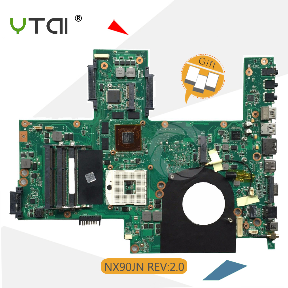 YTAI NX90JN Rev2.0 mainboard For ASUS NX90JN NX90JQ laptop motherboard HM55 REV.2.0 3*DDR3 RAM slots 8 pcs memory card mainboard