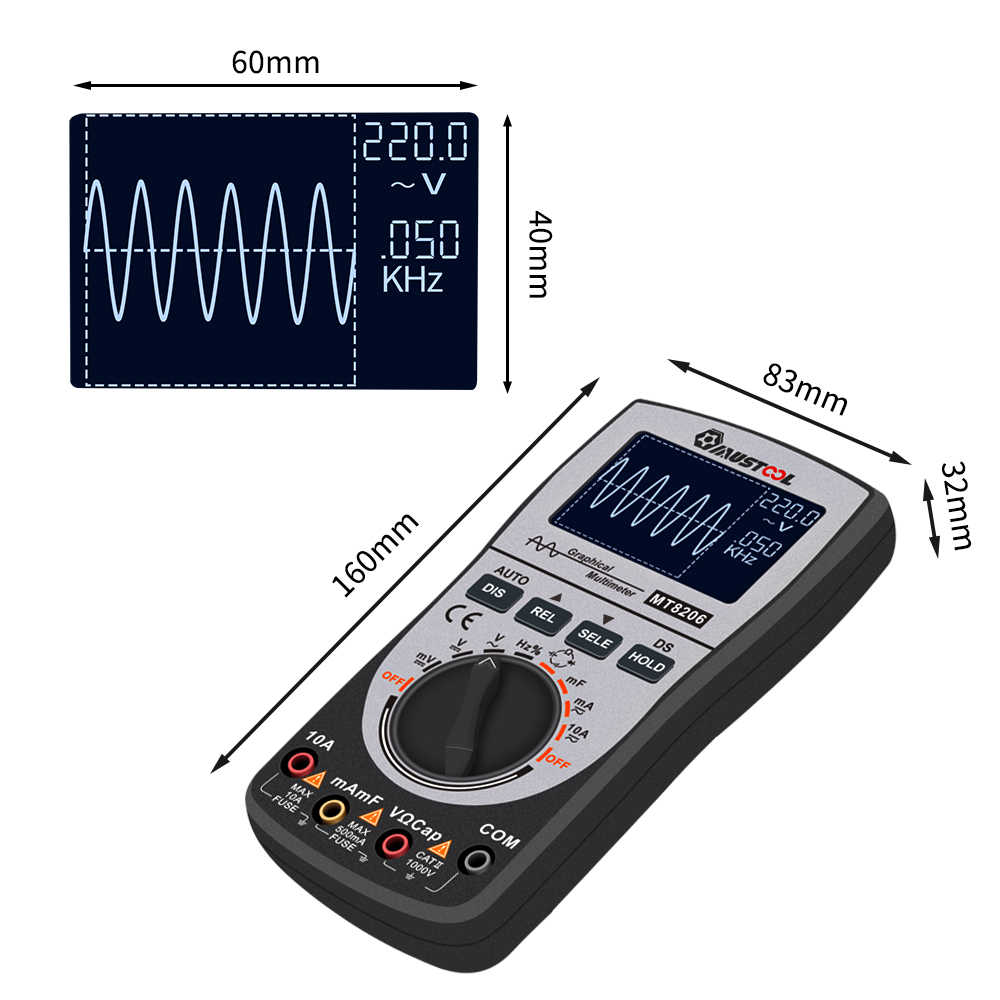 MUSTOOL Модернизированный MT8206 2в1 интеллектуальный цифровой осциллограф-мультиметр Вольт-амперные характеристики тестер с аналоговым баром Grap