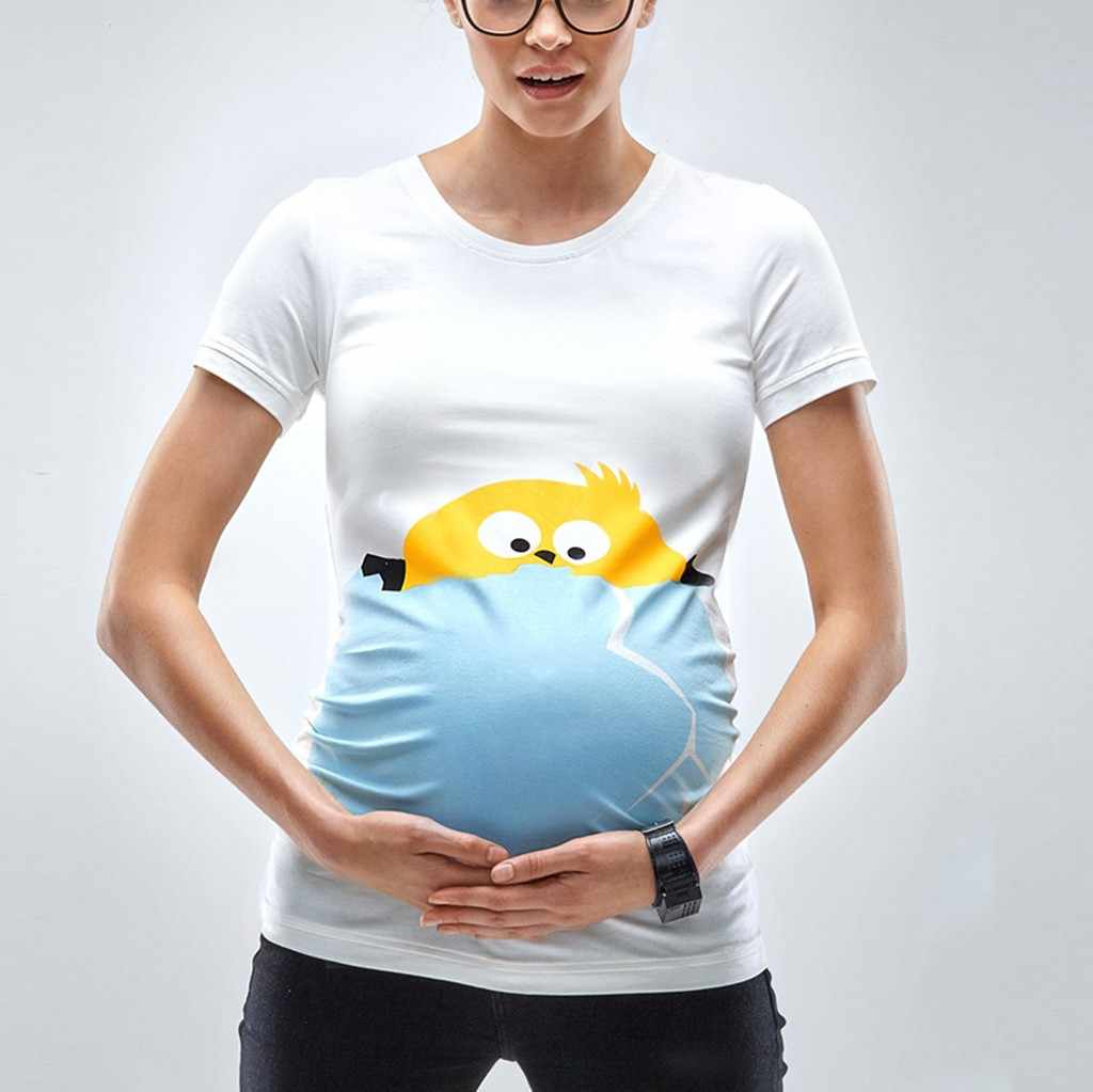 8390665353c15 Easter Women Maternity Short Sleeve Cartoon Chick Tops T-shirt Pregnancy Clothes  clothes for pregnant