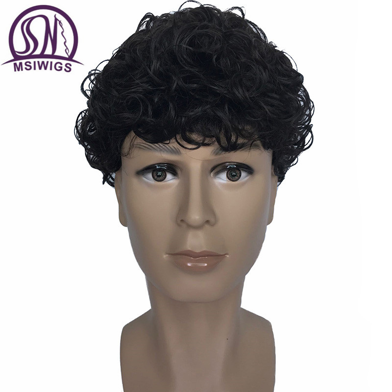 MSIWIGS Curly Men's Synthetic Wigs Natural