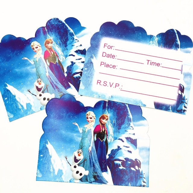 10pcs Frozen Happy Birthday Gift Cards Blank Paper Invitations Card Party Supplies Disney Elsa Anna