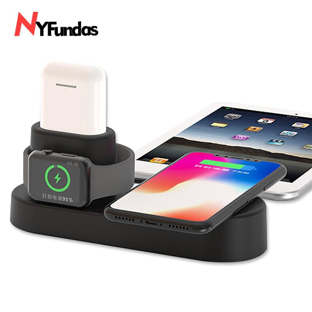 NYFundas 4 in 1 Wireless veloce Caricatore Del Supporto Per iphone XS MAX XR 8 8 Più di X XS 10 Apple airPods iwatch 2 3 4 stazione di induzione