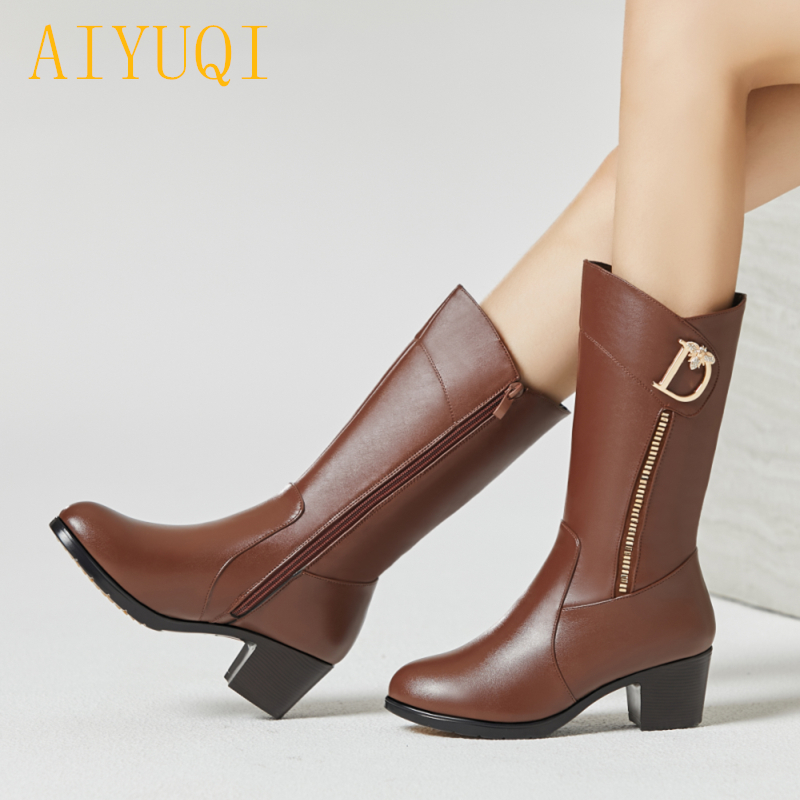 AIYUQI Female snow boots winter 2018 new genuine leather female motorcycle boots, big size 35-43 wool warm women dress shoes aiyuqi big size 42 100% natural genuine leather female flat shoes 2018 spring new ladies shoes comfortable nurse shoes female
