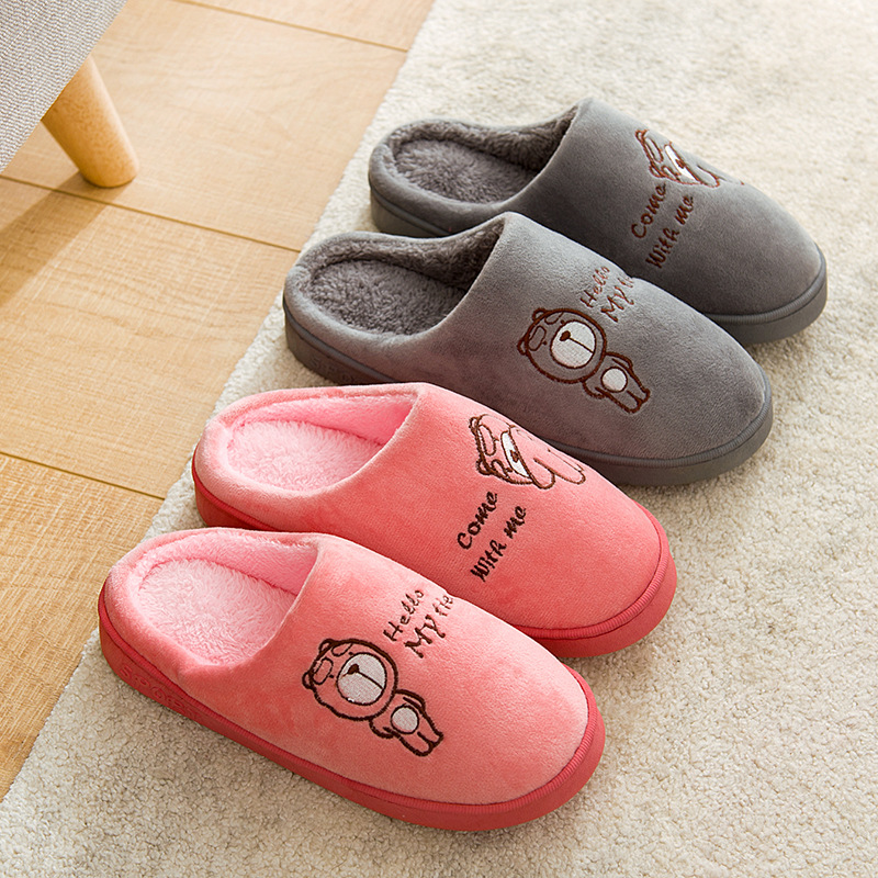 Winter Warm Home Slippers Women&Men Cartoon Bear Indoor Plush Slippers Unisex Faux Fur Bedroom Slippers New Casual Sildes
