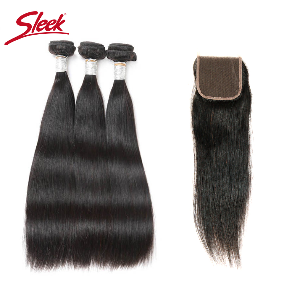 Sleek Brazilian Straight Hair Bundles With Closure 4 Pcs Natural Color Hair Weave Remy Human Hair 3 Bundles With Closure