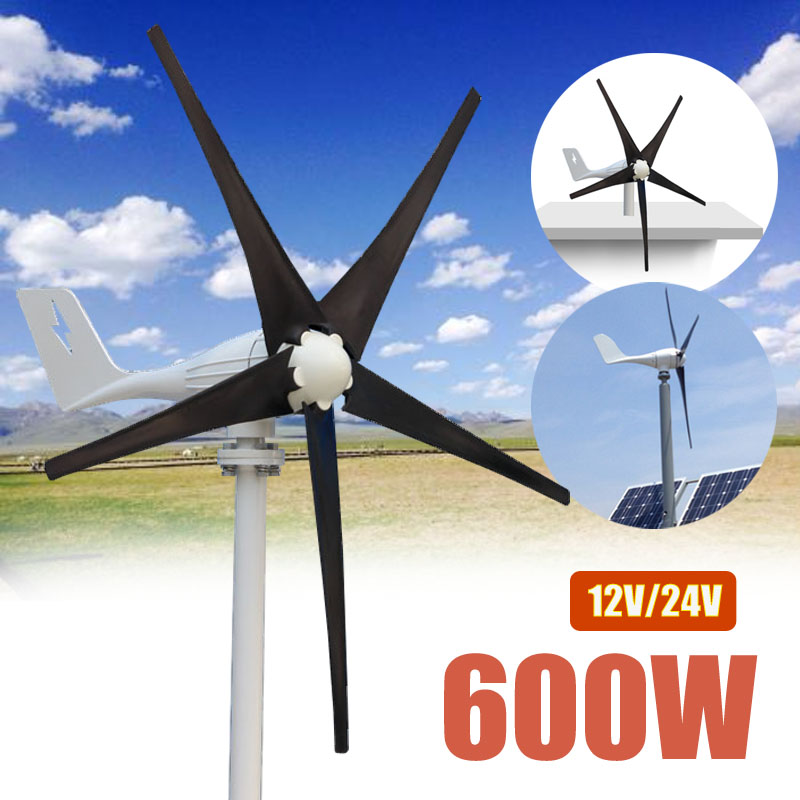 600 Вт 12 В в 24 вольт 5 нейлон волокно лезвия горизонтальные ветряные турбины генератор мощность ветряная мельница энергии зарядное устройств...