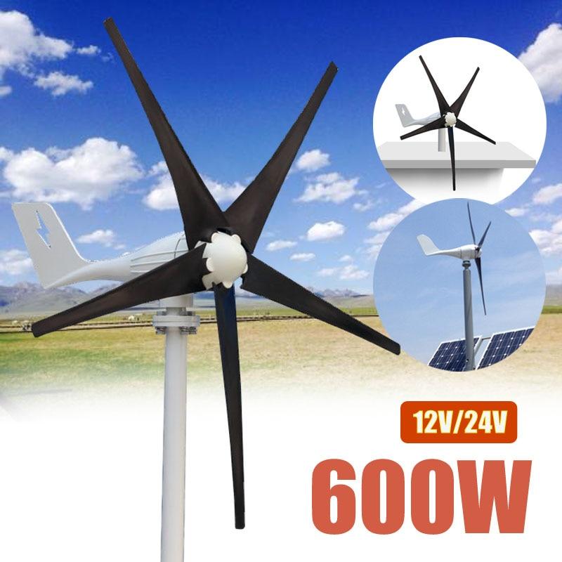 600 w 12 v 24 Volts 5 Nylon Fiber Lames Éoliennes Horizontales Puissance Du Générateur Moulin À Vent D'énergie Chargeur Kit Maison noir