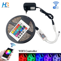 HBL LED Strip Licht 4 M 5 M 5050 IP20 diode tape 8 M 10 M rgb strip led lint met adapter en WIFI led controller volledige kit