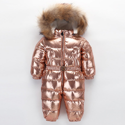 2019 Brand Orangemom Russia Winter -30 Degree Down Jacke Children Large Raccoon Fur Clothes Boys Girls Warm Windbreaker Rompers