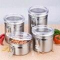 Neu Edelstahl Luftdicht Versiegelt Kanister Kaffee Mehl Zucker Tee Container Halter Küche Lagerung Flaschen Gläser Boxen-in Aufbewahrungsboxen & Behälter aus Heim und Garten bei