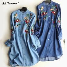 749bd48268 Yumuşak Kot Elbiseler Kadın Çiçek Işlemeli O Boyun Uzun Fener Kollu Bahar  Yaz Tencel denim gömlek Elbise Mavi Vestido M-5XL