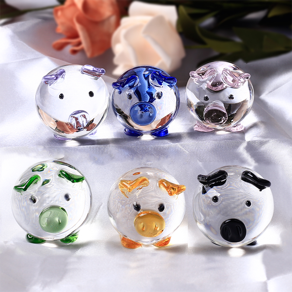 K9 Crystal Pig Figurines Miniatures Glas Djur Miniatyrhus Dekoration Fengshui Crafts Cute Ornaments