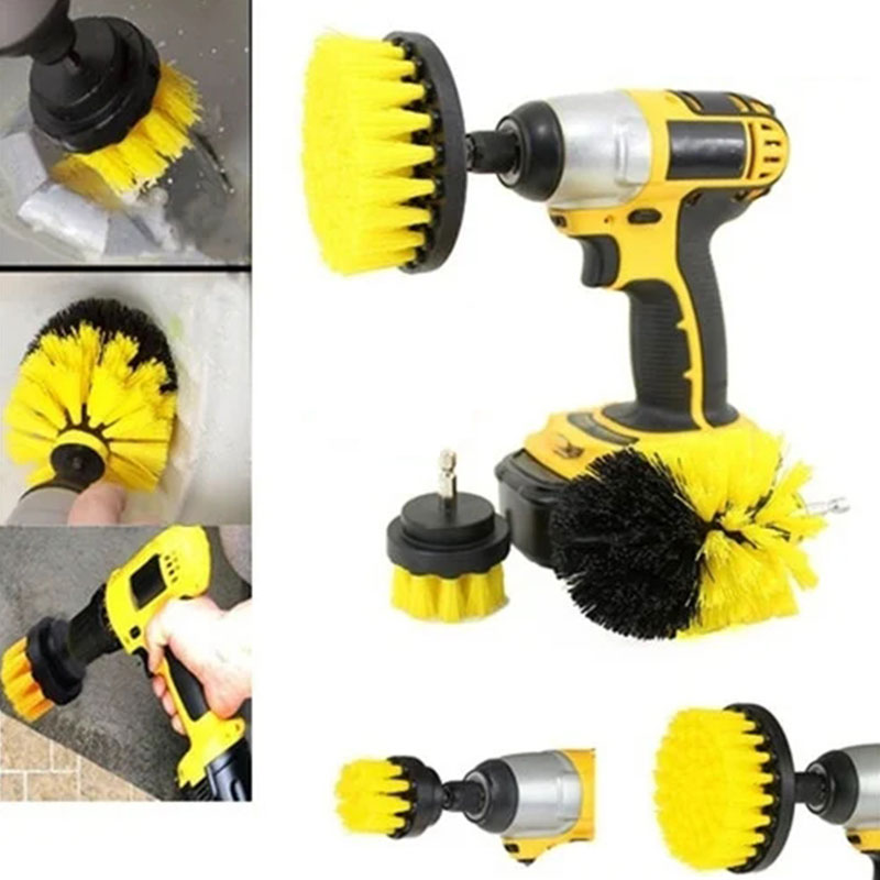 Drill Brush Kit Electric 3pcs/Set 3 Colors Cleaning Tools Churn Drilling Electric Drill Hole Household Aaccessory Cleaning Tools Cleaning Brushes     - title=