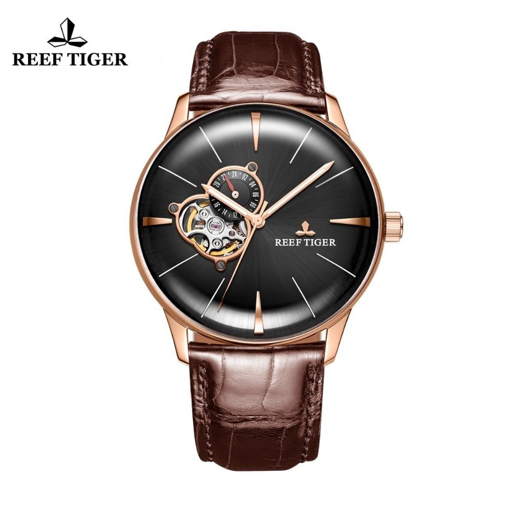 Новые Reef Tiger/RT роскошные часы из розового золота Мужские автоматические механические часы Tourbillon часы с коричневым кожаным ремешком RGA8239