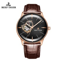 hot deal buy new reef tiger/rt luxury rose gold watch men's automatic mechanical watches tourbillon watches with brown leather strap rga8239