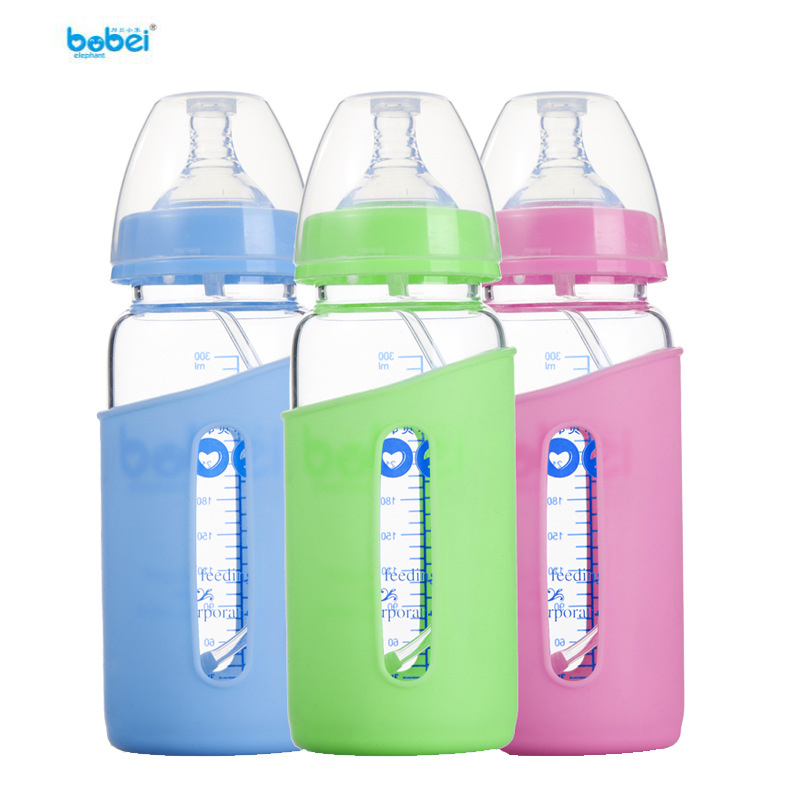 Bang Bo baby elephant glass bottle wide mouth straight anti-flatulence 300ml with silicone cover maternal and child products