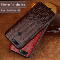 Genuine Leather Brand crocodile pattern soft case for OnePlus 5T phone shell 360 degree all inclusive For OnePlus 5 phone case