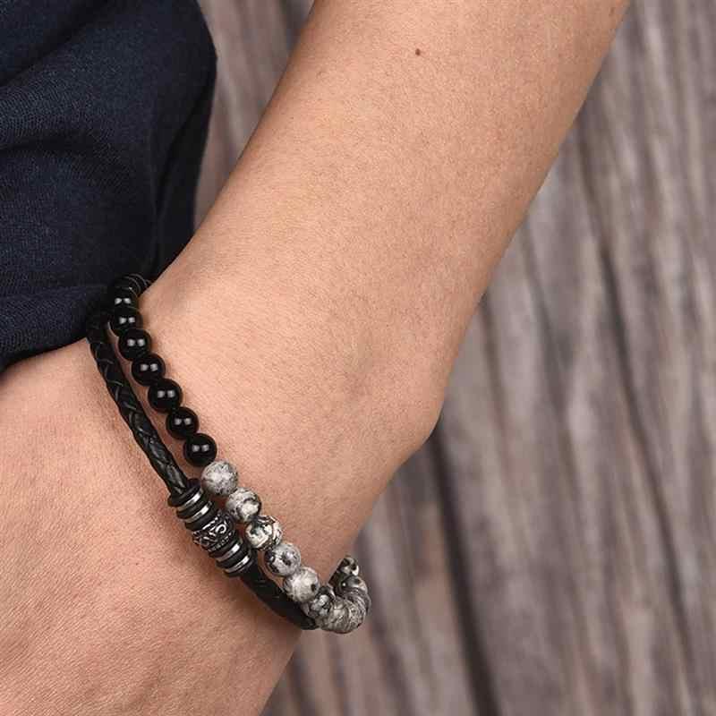 Jiayiqi charme contas pulseira de couro para homens jóias de aço inoxidável magnético palmas olho tigre natural pedra masculino acessórios