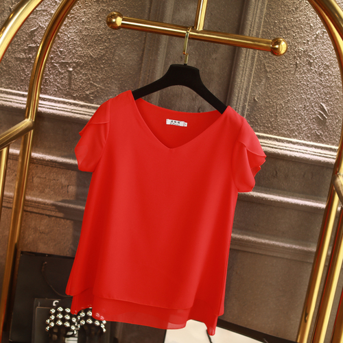 100% Original Women Chiffon Shirt 2019 Summer Short sleeve V-neck Blouse Casual 9 Solid color Loose Oversized Lady Tops 9