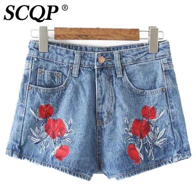 96b6d92e1c3 Embroidery Vintage Floral Jeans Slim Women Casual Shorts Denim Pants Ladies  Jeans 2016 Summer Autumn Zipper