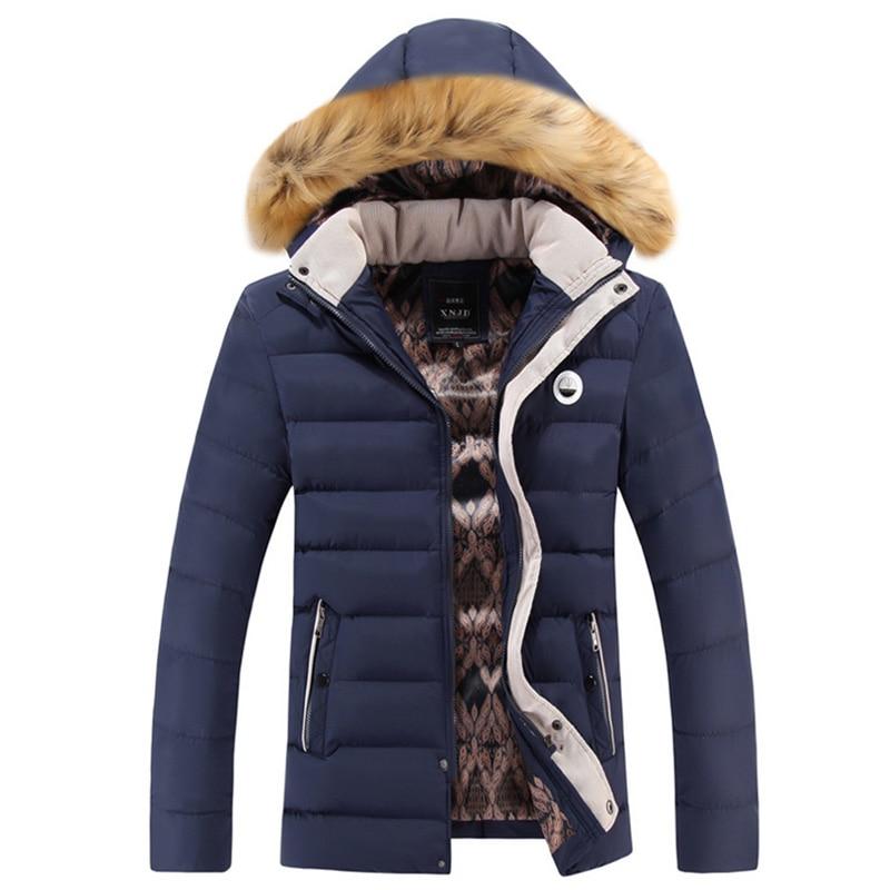 Winter Brand Men Thick Warm Casual Fur Collar Hood Jacket Cotton Coat Windproof Overcoat Outwear Parkas