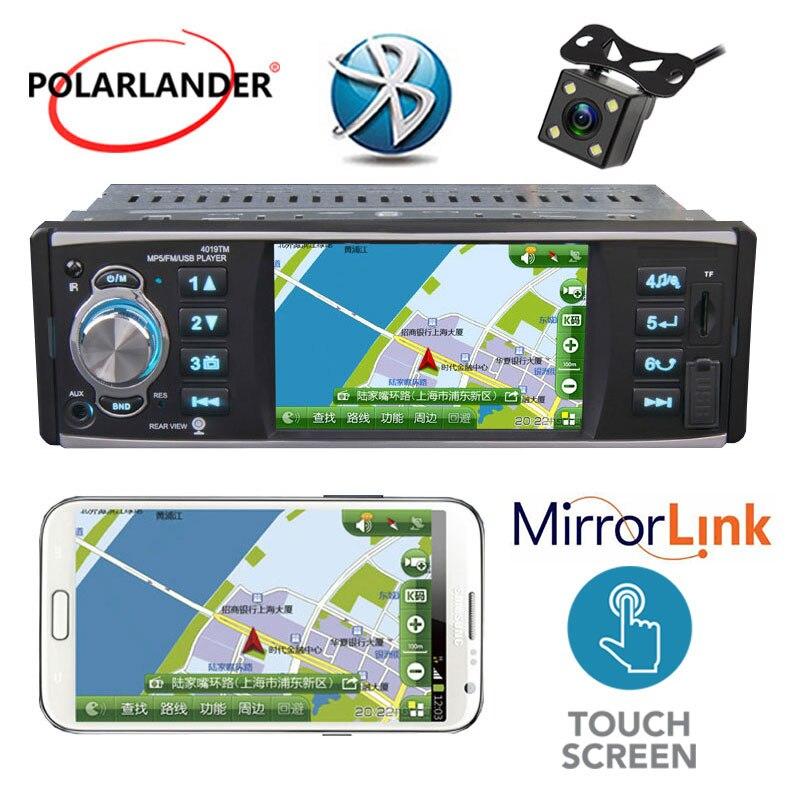 Автомобильное радио 1 Din, 4 дюйма, стерео Bluetooth, зеркальная связь для телефона Android, поддержка 4, светодиодный экран HD, задняя камера, USB/SD/FM, MP5 пл...