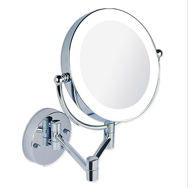 Contemporary Makeup Mirrors LED Wall Mounted Extending Folding Double Side LED Light Mirror 3x Magnification Bath mirror Inspirational - Minimalist magnifying makeup mirror Trending