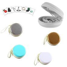 Transportable 7 x 7 x three.5cm Spherical Waterproof PU Earphones Headset Headphone Field Case Holder Bag Equipment