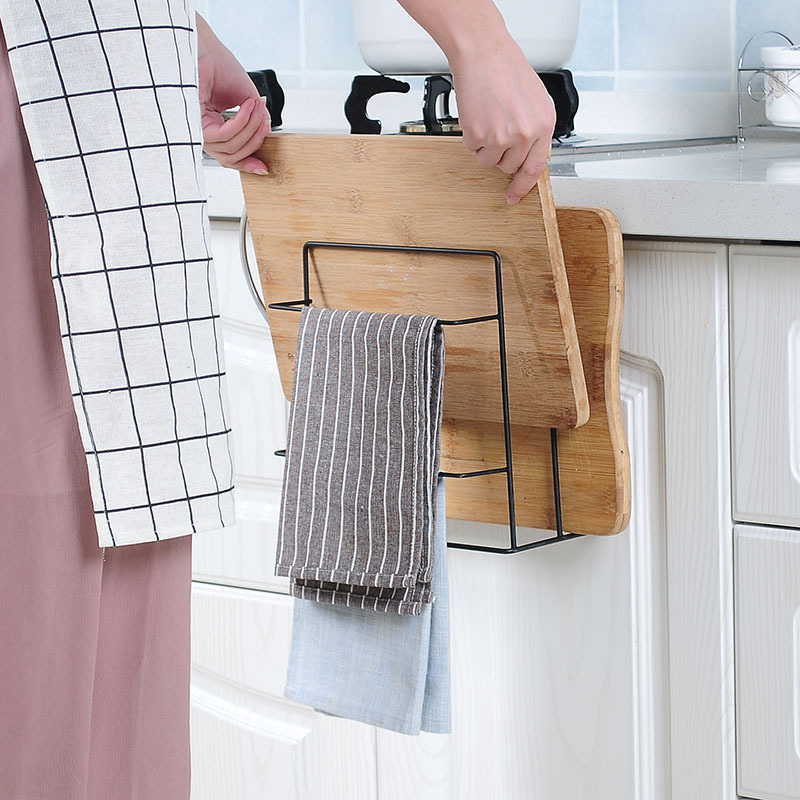 Image 5 - Kitchen Double Layer towel rack hanging holder Cabinets Shelf Chopping Board Storage Rack Hanger Shelf Kitchen Accessories-in Racks & Holders from Home & Garden