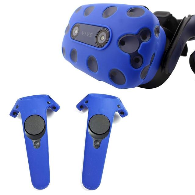 Peau de Silicone pour HTC VIVE PRO VR casque de réalité virtuelle VR lunettes casque contrôleur poignée coque couvercle de boitier en Silicone