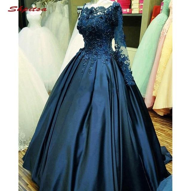 فساتين كوينسيانيرا بأكمام طويلة باللون الأزرق الداكن فستان ساتان دانتيل للحفلات الراقصة Debutante ستة عشر حلو 16 فستان vestidos de 15 anos