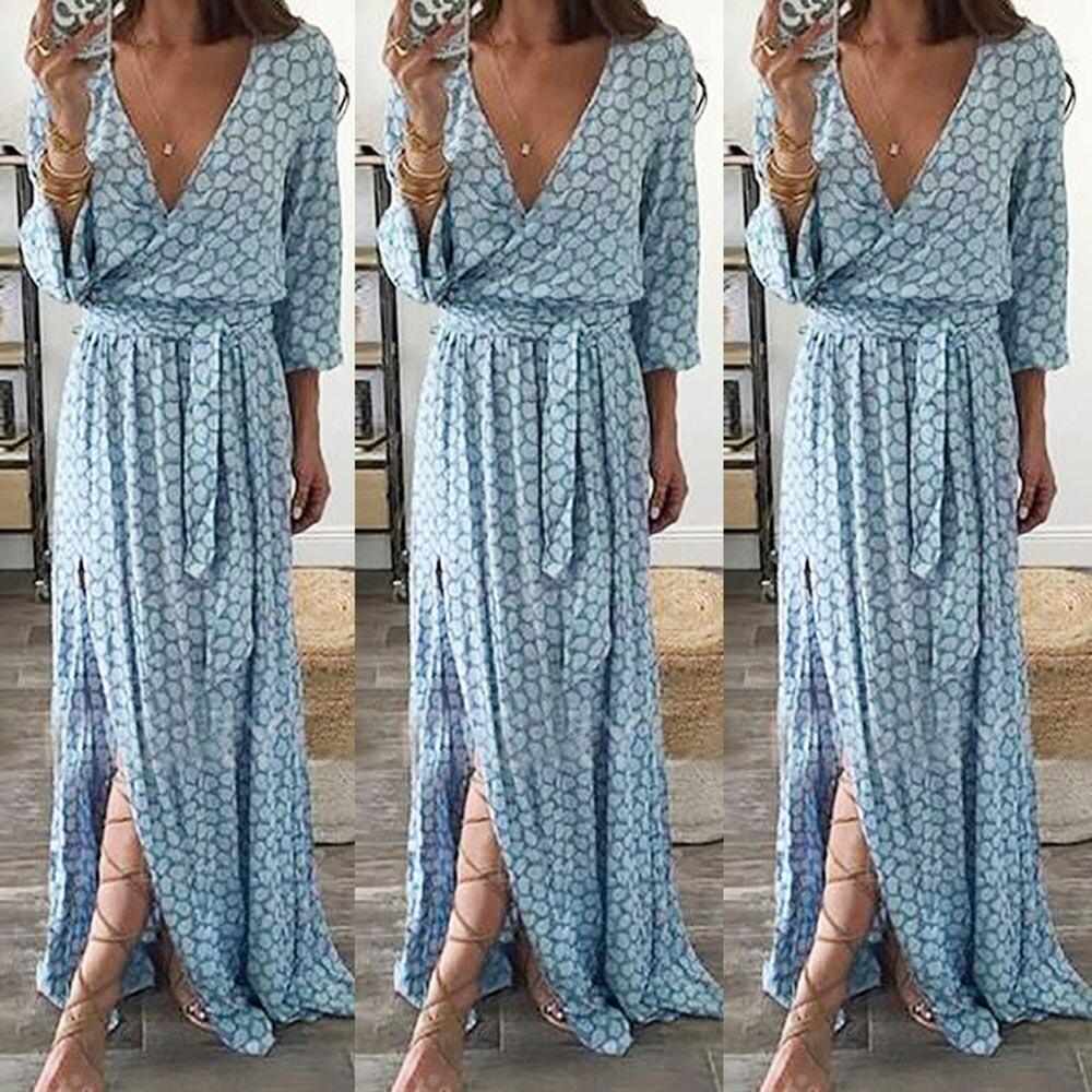 Women Long Sleeve V Neck Printed Long Maxi Dress With Belt women dresses summer casual drop shipping May.30 1