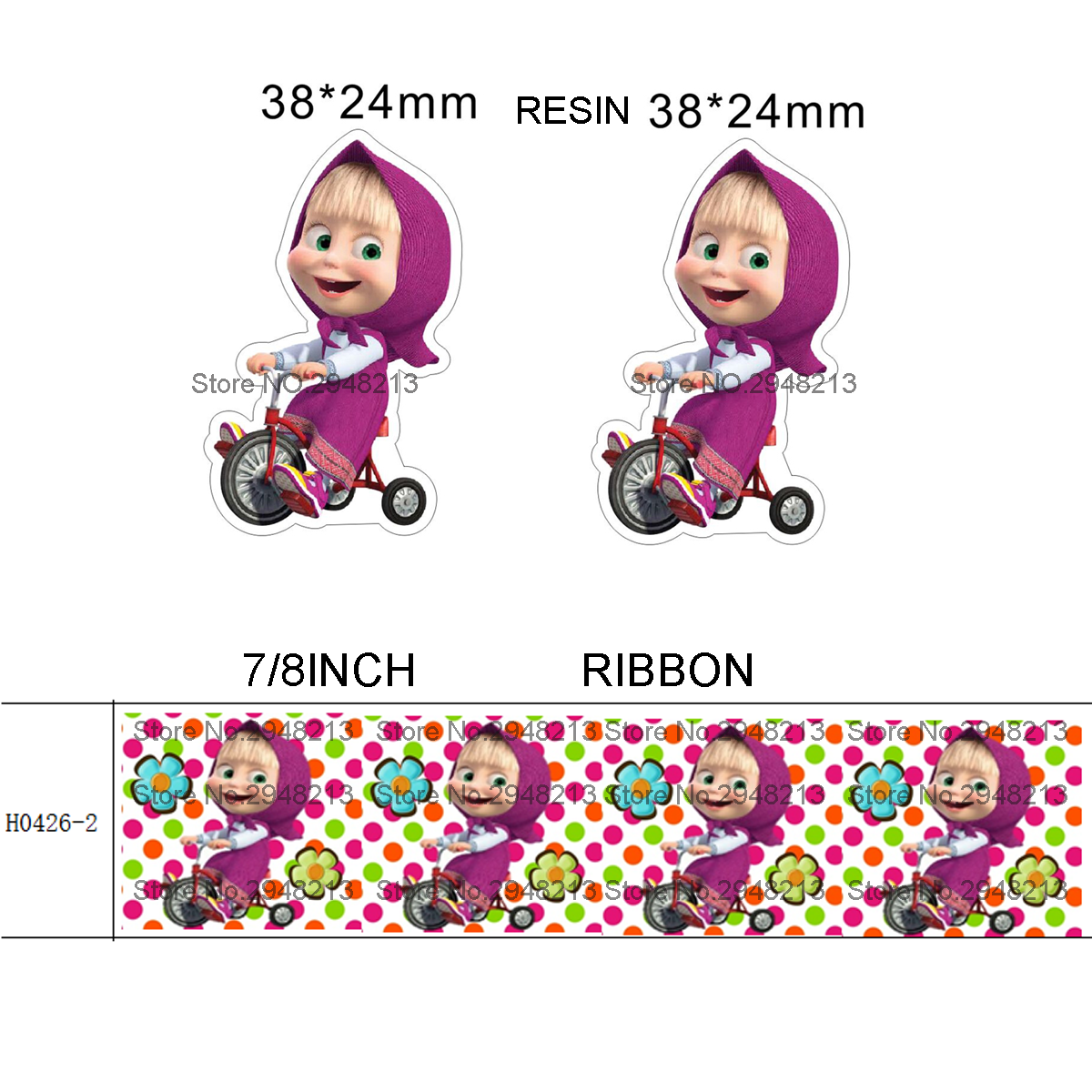 Figurines & Miniatures Collection Here Printed Cartoon Grosgrain Ribbon And Resin Sets 7/8inch 50yard Ribbon And 50pcs Resin 1 Sets Reb127