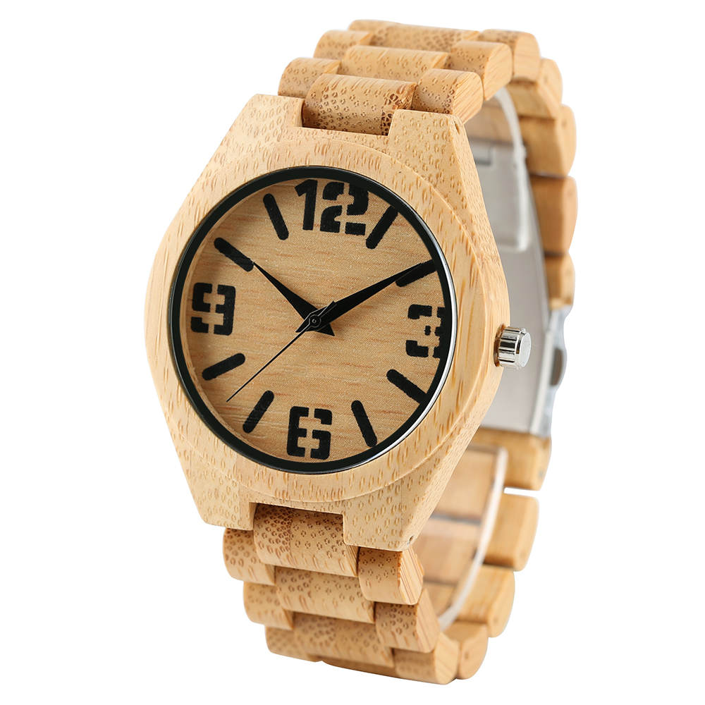 Luxury Natural Full Bamboo Wooden Watches Top Brand Luxury Men - Ерлердің сағаттары - фото 1