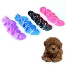 Домашние собаки сапоги конфеты цветов водонепроницаемыми защитный резиновый Pet дождь обувь пинетки