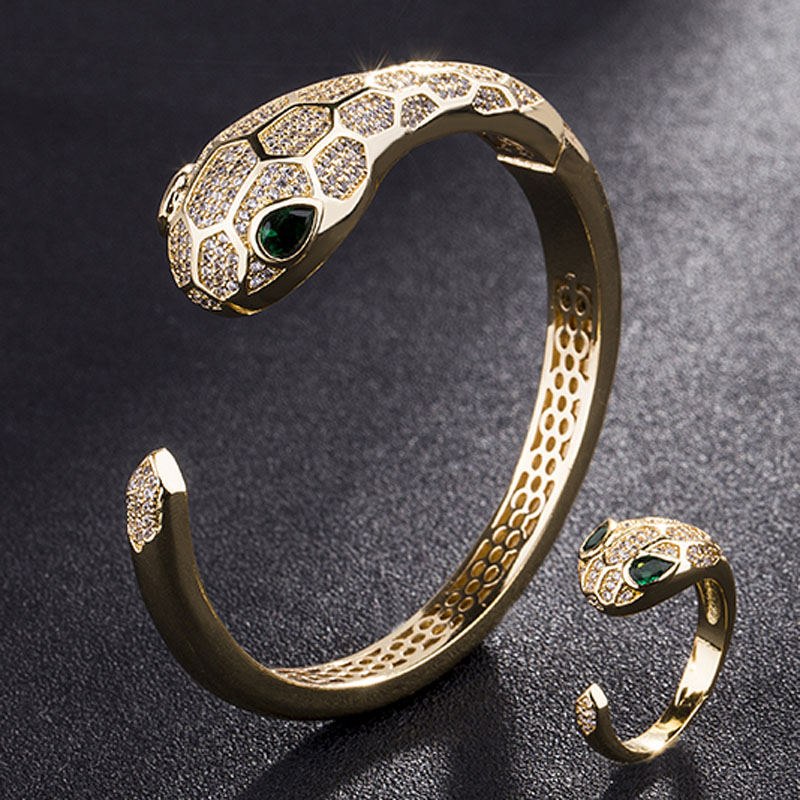Green Eye Snake Animal Bangles & Rings Men Jewelry Sets Metal Copper Gold color rhodium Silver Bangles Aneis Anel Accessory Sets