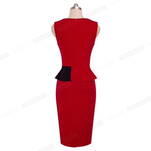 Nice-forever Vintage Elegant Contrast Color Patchwork vestidos Business Party Bodycon Sheath Office Women Work Ruffle Dress B443