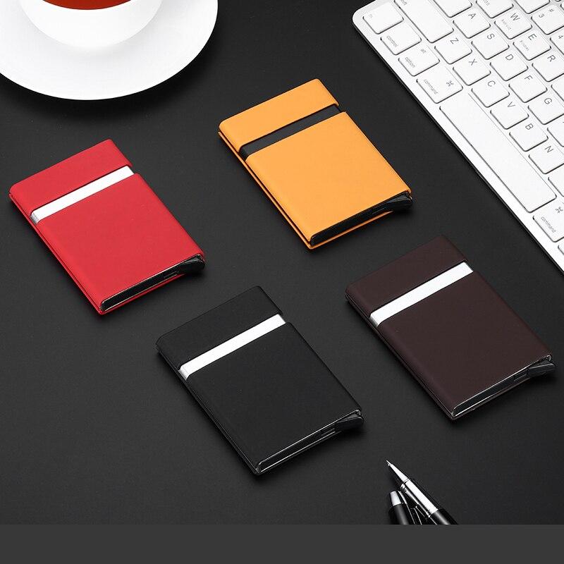 Купить с кэшбэком QOONG Custom Engraving Men Women Metal Credit Card Holder Automatic Pop Up Card Sets Business Card Wallet Case Passport Holder