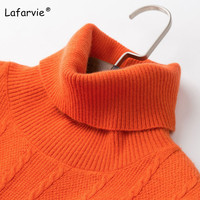 Lafarvie Turtleneck Knitted Cashmere Sweater Women Autumn Winter Pullover Female Patchwork Soft Warm Knit Sweater High