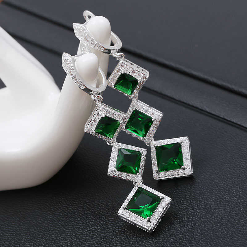 Geometric Green Zircon Stone Earrings for Women Long Dangle Earring Fashion Silver Color Drop Earrings Jewelry Z3E154