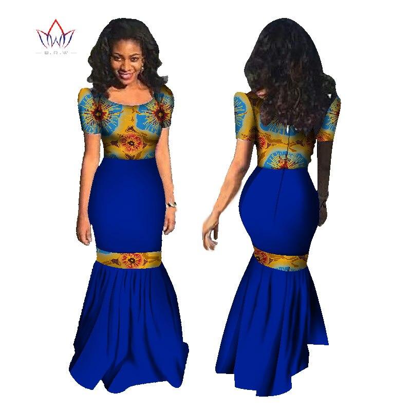 BRW Africké šaty letní dámské mořské panny šaty dlouhé šaty Maxi šaty Bazin Riche africké tiskařské oblečení plus velikost 6XL WY1177