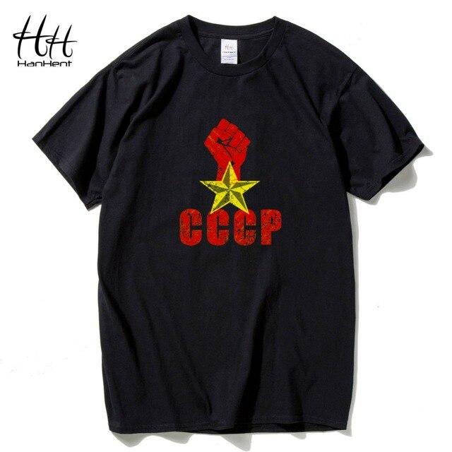 46536ae9ba383 HanHent cccp rússia união soviética russa camiseta homem t-shirt ocasional  do verão masculino camiseta