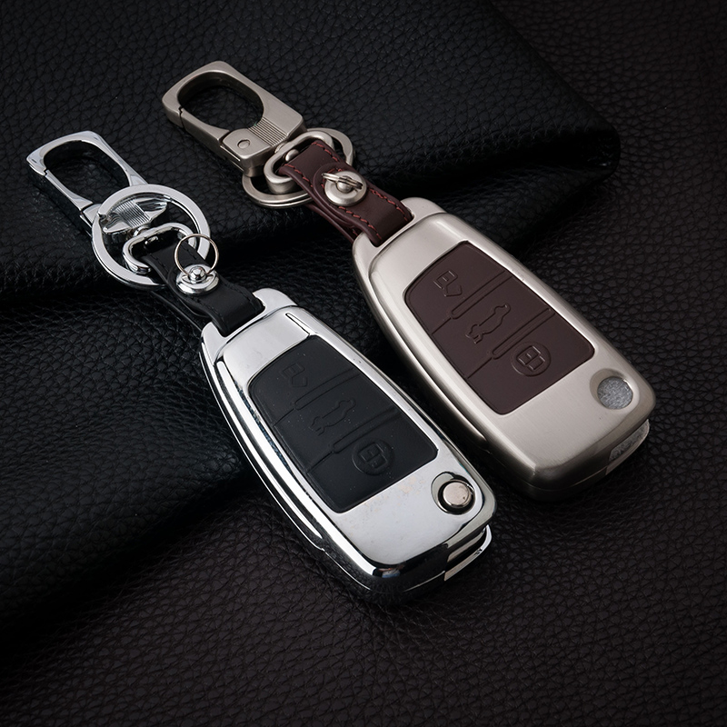 Zinc Alloy+Leather Car Key Cover Case For Audi A1 A3 A4 A5 Q3 Q5 Q7 A6 C5 C6 A7 A8 R8 S4 S5 S6 S7 S8 SQ5 RS5 A4L A6L With Buckle gel14031613 silicone car key case for audi a1 a3 q3 q7 r8 a6l tt light blue