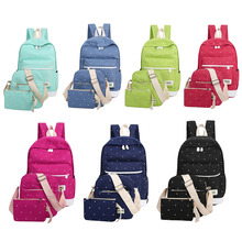 3PCS/Set Popular Casual Canvas Teenager Backpack Bag High Quality Ladies School Bag Girl Student Book Bag With Purse Laptop